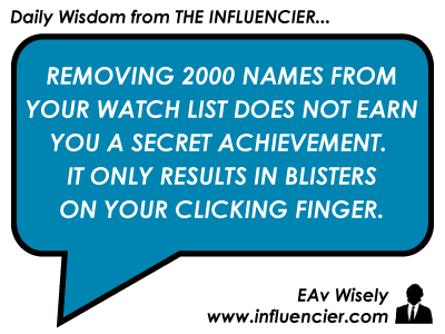 Empire Avenue Wisdom 26 - Watch Lists